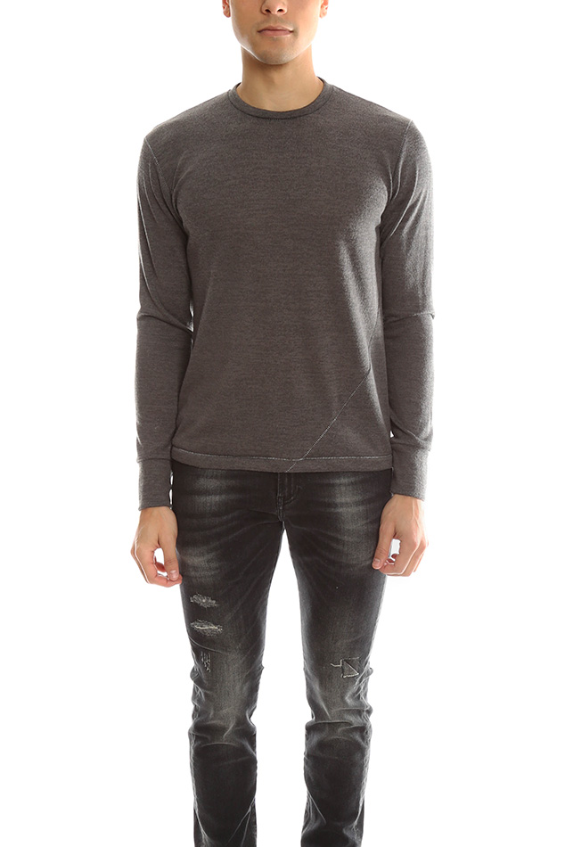 Men's 18 Waits Signature LS Sweater in Charcoal, Size Medium