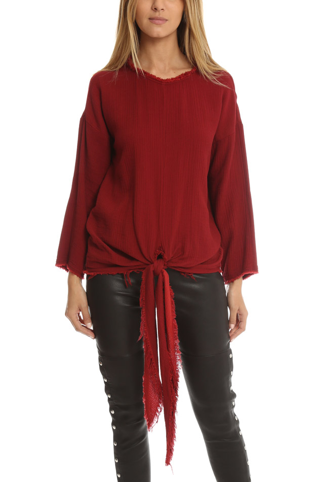 Women's Masscob Tie Front Top in Cherry, Size Medium