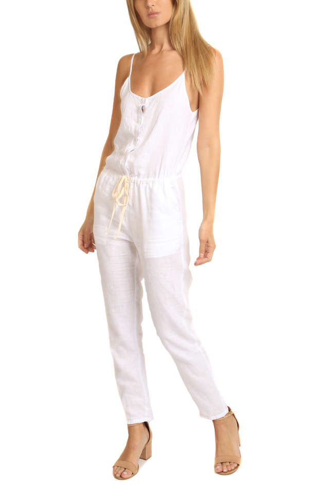 Women's Enza Costa Linen Strappy Jumpsuit in White, Size 2