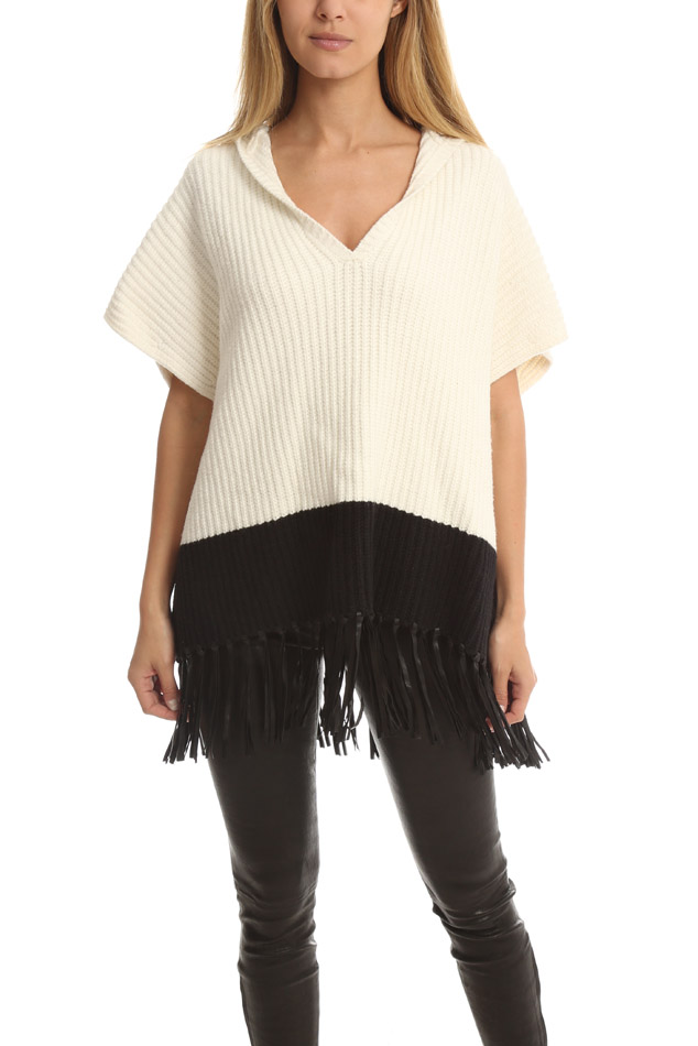 Elizabeth And James Women's  Leather-fringe Hooded Cape Sweater In White,black