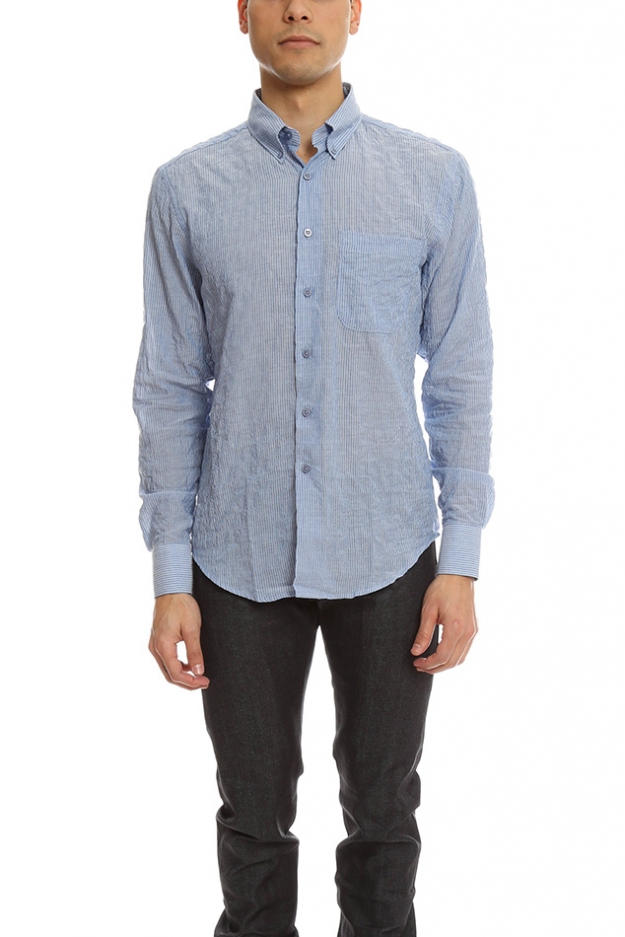 Naked & Famous Regular Shirt Lightweight Pencil Stripes