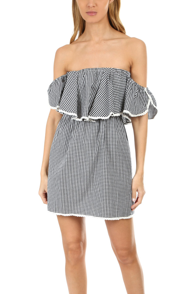 Women's MISA Los Angeles Belu Dress in Gingham, Size Medium