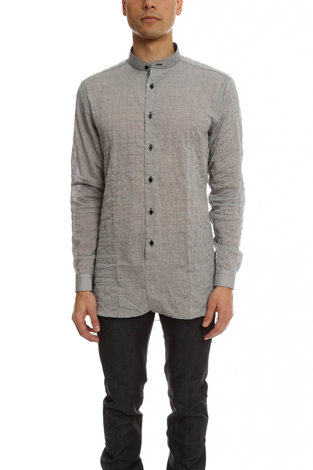 Naked & Famous Long Shirt Crinkle Horizontal Stripes