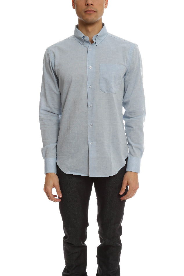 Men's Naked & Famous Regular Shirt Organic Cotton Heather Air Twill in Blue, Size Small
