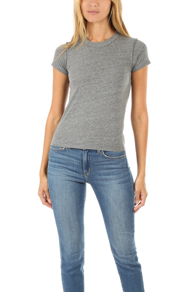 Women's NSF Alessi Baby T-Shirt in Heather Grey, Size Large