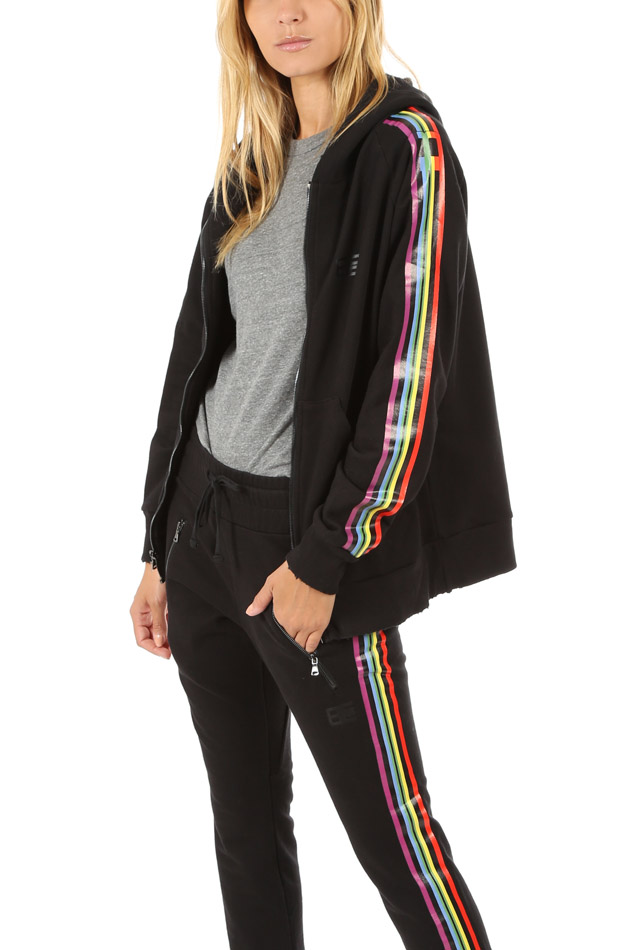 Women's Baja East Zip Hoodie Sweater in Rainbow, Size 0