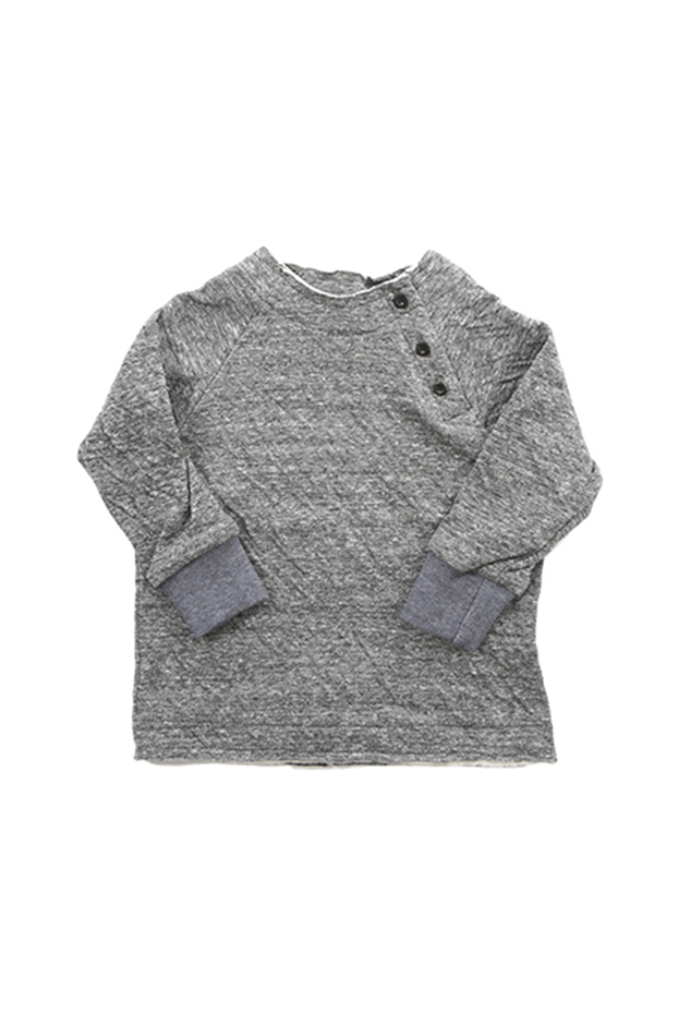 Blue&Cream Future Fresh Double Face Henley in Grey, Size 4T