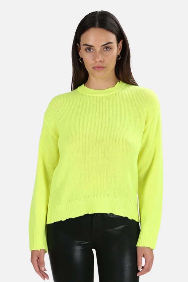 Women's RtA Emma Sweater in Highlighter, Size 2XS