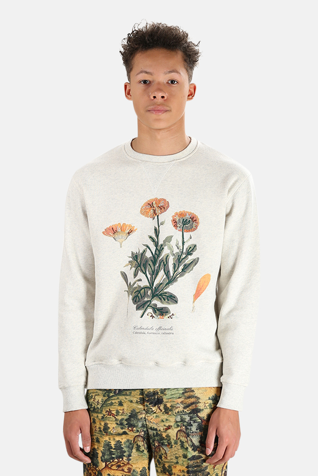 Men's President's Calendula Embroidery Sweatshirt Sweater in White, Size Large
