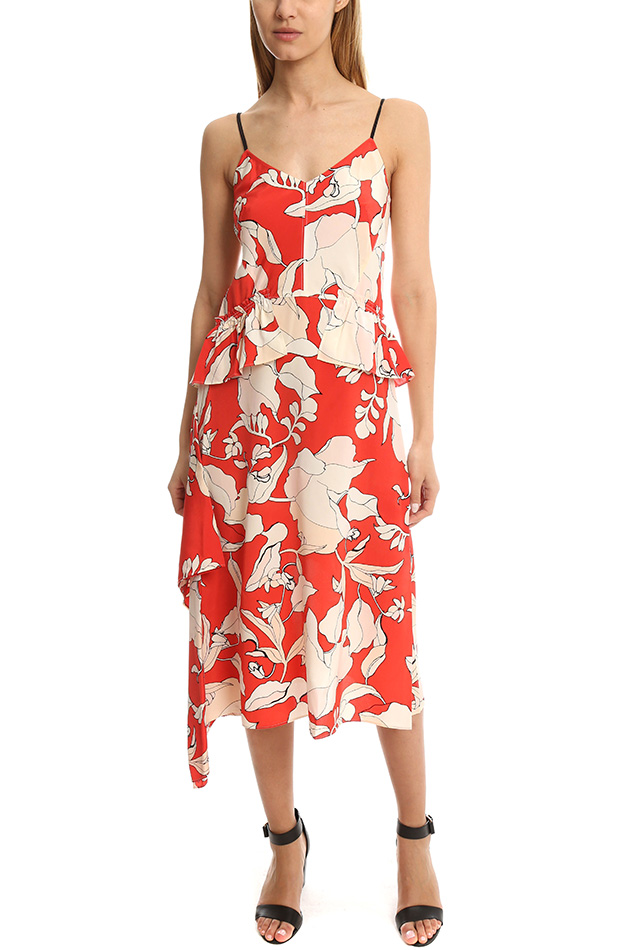 Women's Derek Lam 10 Crosby Sleeveless Peplum Dress in Flamenco, Size 2
