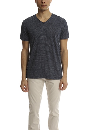 Vince Linen Feeder Stripe V-Neck Tee VINCEMS6-23
