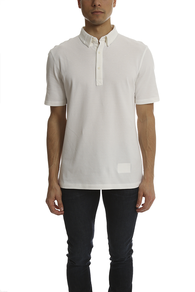 Men's Helmut Lang Spring Pique Polo Top in White, Size Small