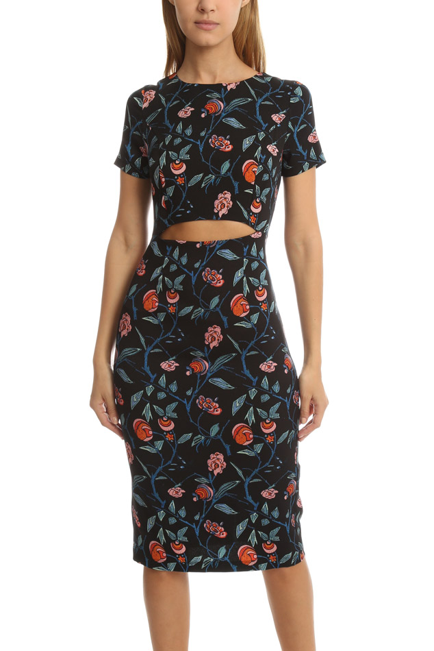 Women's SUNO Cut Out Dress in Floral Black, Size 2