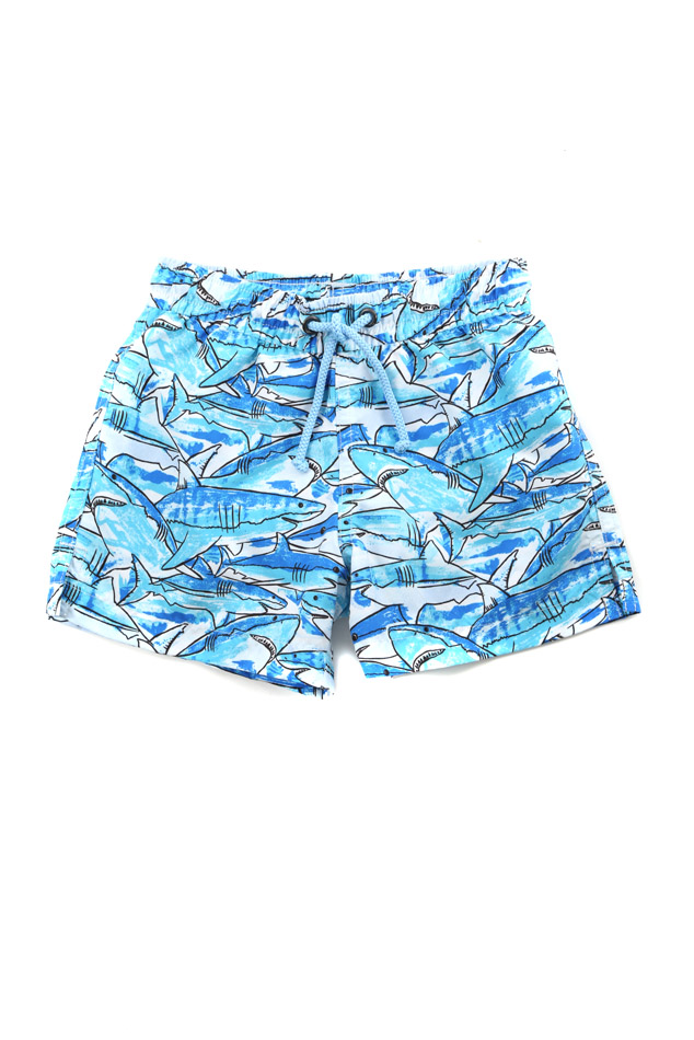 Sunuva Boys Shark Swim Short in Blue, Size 1-2Y