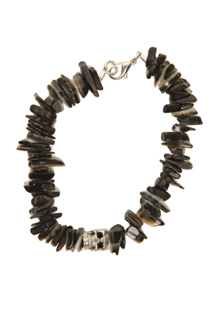 Duchess of Malfi Black Lip Shell Bracelet with Skull