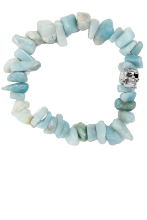 Women's Duchess of Malfi Aquamarine Large Skull Bracelet in Blue