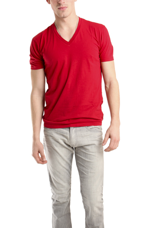 Men's Spurr by Simon Spurr V Neck Classic T-Shirt in Red, Size Large
