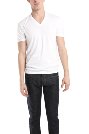 Men's Spurr by Simon Spurr V Neck Classic T-Shirt in White, Size 2XL