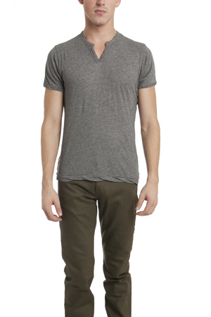 Men's Alternative Apparel Moroccan Slit Neck T-Shirt in heather grey, Size XL