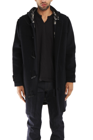 Men's Yigal Azrouel Duffle Coat in Midnight, Size Large