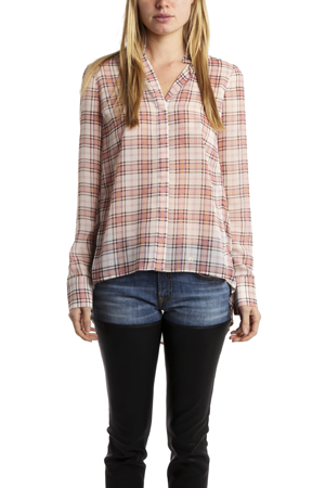 Women's 10 CROSBY BY DEREK LAM Mandarin Collar Blouse in Blush Plaid, Size 2