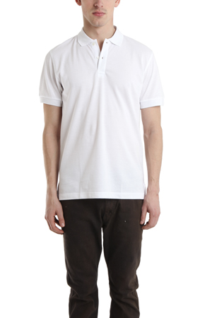 Men's Sunspel Pique Polo Shirt in White, Size XL