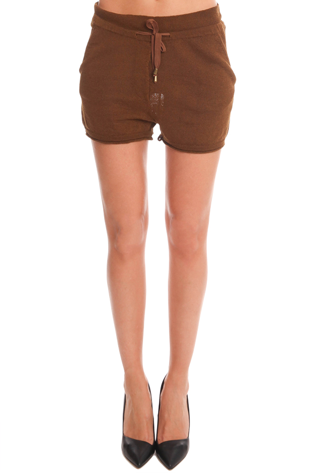 Women's Giada Forte Linen Short in Brown, Size 2