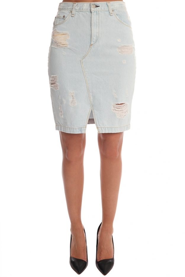 rag & bone/JEAN Denim Skirt Shredded