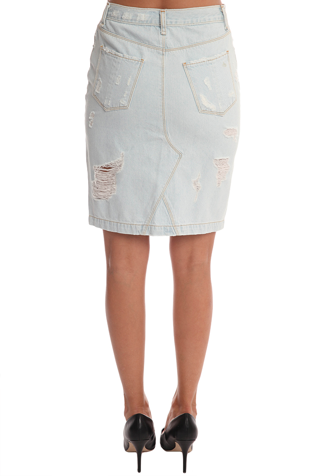 rag bone jean denim skirt shredded blue
