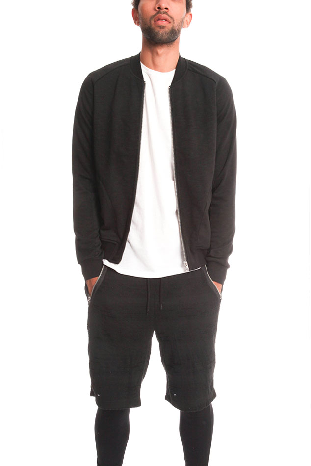 Men's Shades of Grey Knit Bomber Jacket in Black, Size 2XL