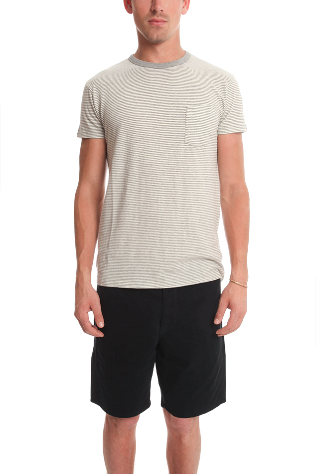 Men's Officine Generale Crew Neck T-Shirt in Grey/White, Size Small