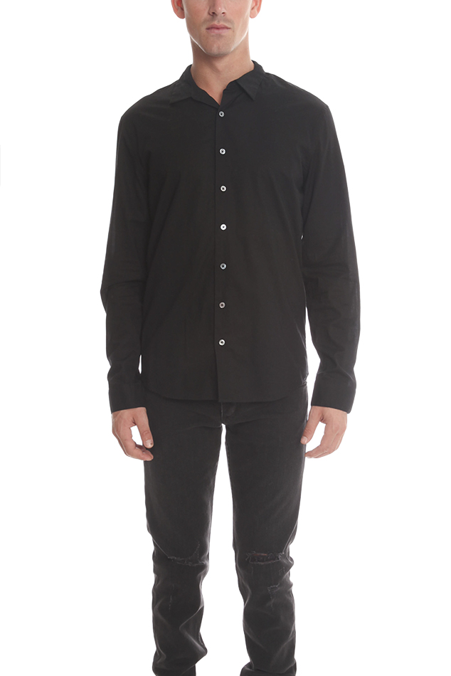 Men's ATM Button Down Dress Shirt in Black, Size Small