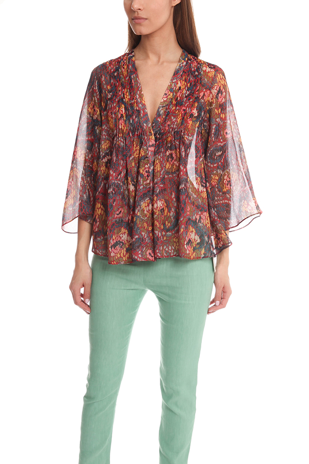 Women's ELIZABETH AND JAMES Kimono Tokyo Top in Red, Size XS