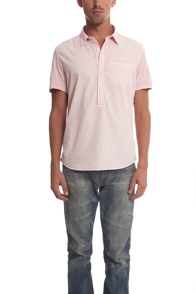 Men's Edun Shortsleeve Mixed Media Button Down Top in Pink, Size Large