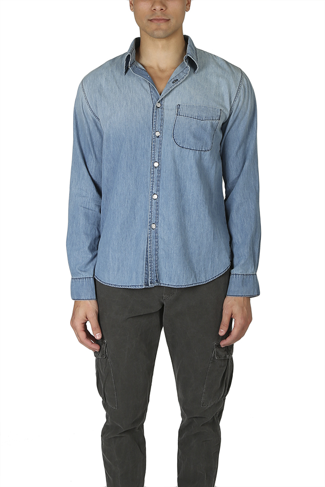 Men's NSF Axel Distressed Button Down Shirt in Crest, Size XL