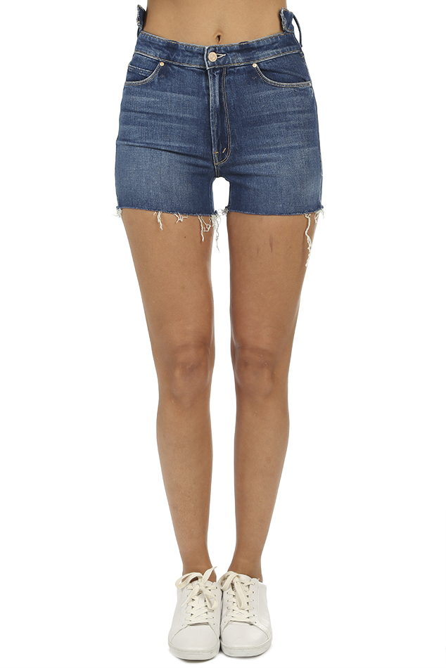 Women's MOTHER The Dazzler Shift Fray Short in Blue, Size 24
