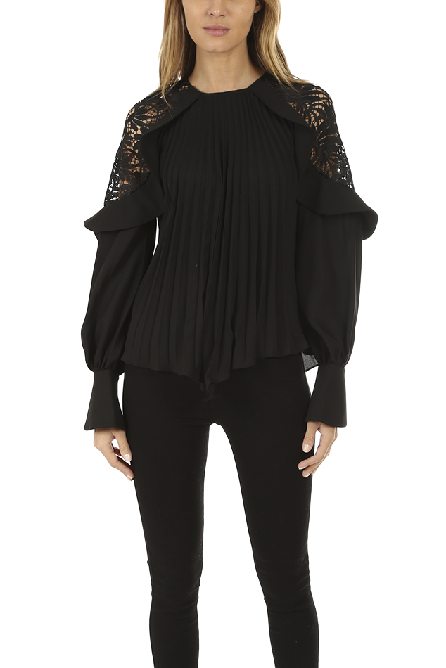Women's self-portrait Lace Shoulder Top in Black, Size 8