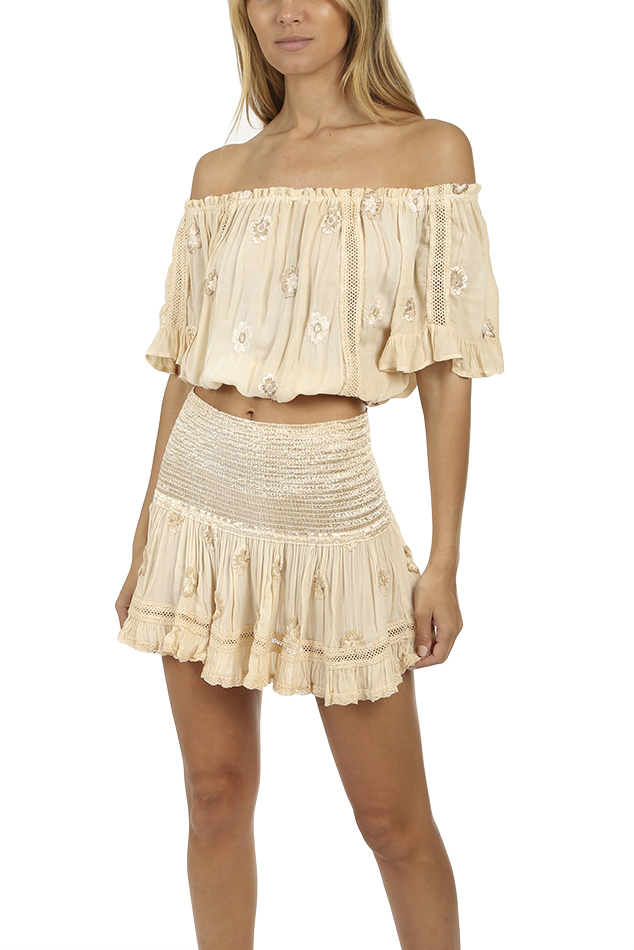 Women's Sunday Saint-Tropez Loulou Flower Top in Champagne