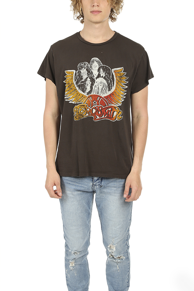 MadeWorn Rock Aerosmith Group with Wings T-Shirt in Dirty Black, Size XS