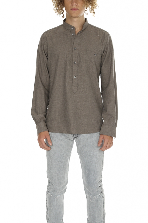 Richard James Fawn Lux Herringbone Shirt