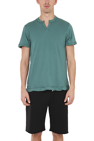 Men's Alternative Apparel Split Neck T-Shirt in Green, Size Large