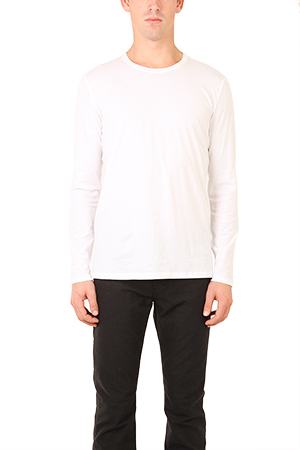 Atm Anthony Thomas Melillo ATM CLASSIC JERSEY LS TOP IN WHITE, SIZE LARGE