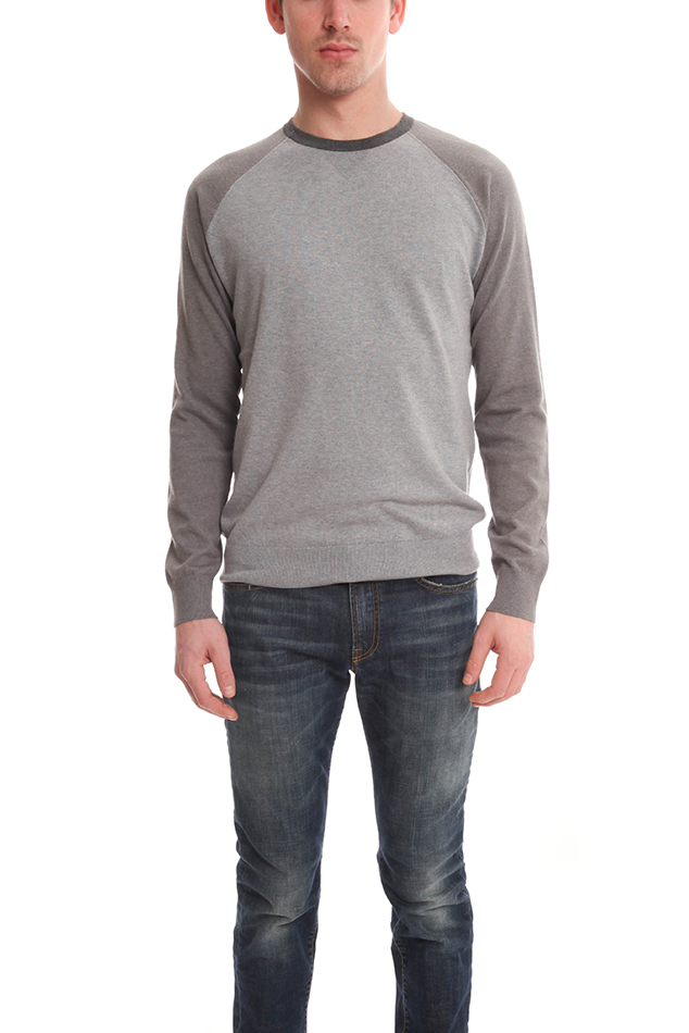 Men's Vince Colorblock Crewneck LS Sweater in Grey, Size Small
