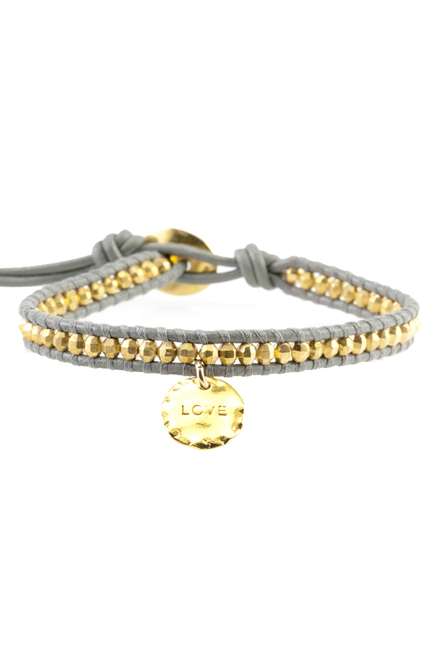 Women's Chan Luu Gold Bead on Coconut Leather Bracelet with Love Charm Pendant in Grey/Gold