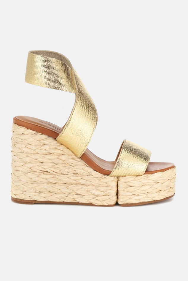 Women's Clergerie Aurore Wedge Sandals Shoes in Gold, Size 365