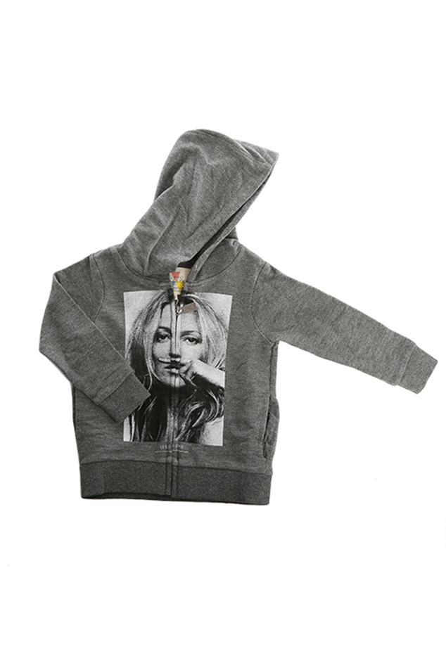 Kids Little Eleven Paris Kate Moss Pullover Hoody Top in Charcoal, Size 12