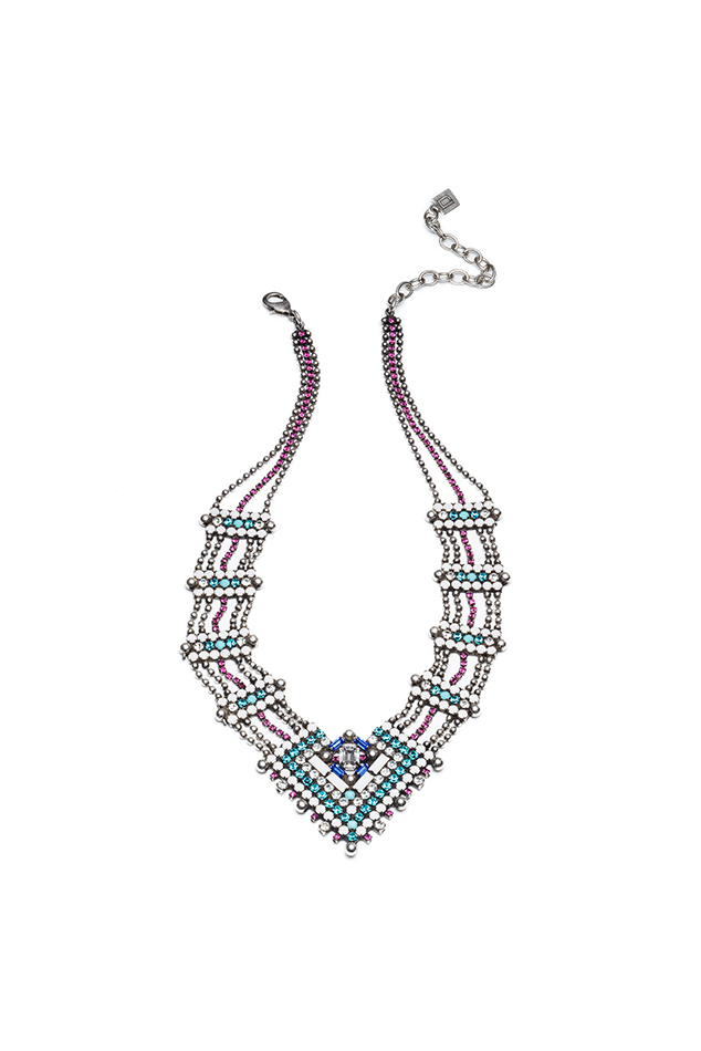 Women's Dannijo Evora Necklace in Fuchsia/Indicolite/Matte White