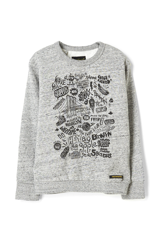 Finger in the Nose Brian Brooklyn Crew Neck Sweatshirt in Heather Grey, Size 4-5Y