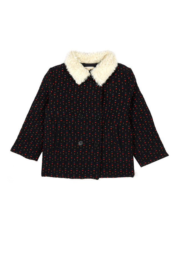 Girl's Hundred Pieces Jacquard Coat in Navy, Size 10Y