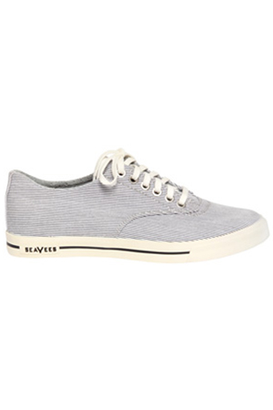 Men's SeaVees Vintage Linen Plimsoll in Navy/White Shoes in Blue/White, Size 5